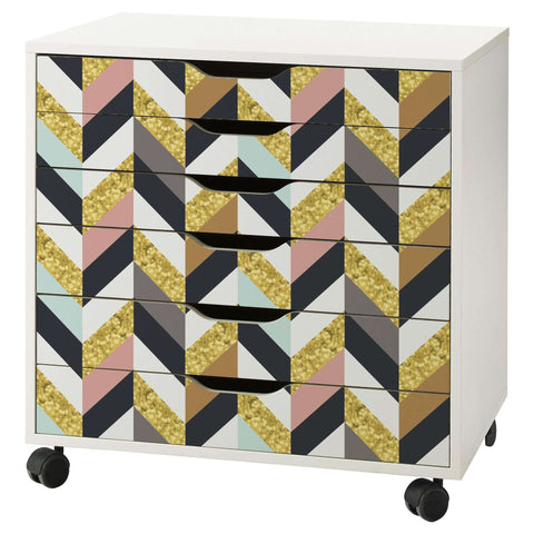 Herringbone Pattern Decal Set for IKEA Alex 6 Drawer Unit