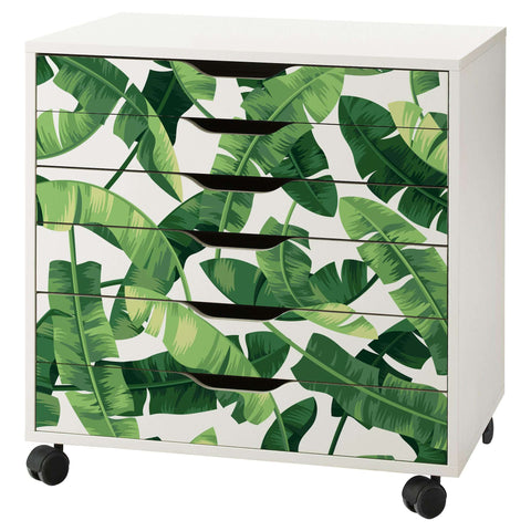 Banana Leaf Pattern Decal Set for IKEA Alex 6 Drawer Unit