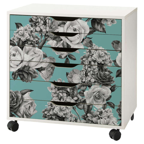 Floral Bouquet Pattern Decal Set for IKEA Alex 6 Drawer Unit
