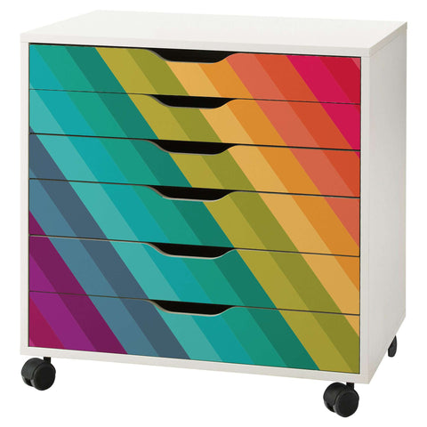 Rainbow Stripe Decal Set for IKEA Alex 6 Drawer Unit