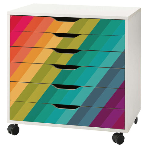 Reversed Rainbow Stripe Decal Set for IKEA Alex 6 Drawer Unit