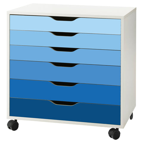 Blue Ombre Pattern Decal Set for IKEA Alex Drawer Unit