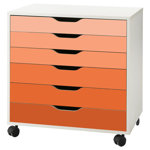 Orange Ombre Pattern Decal Set for IKEA Alex Drawer Unit