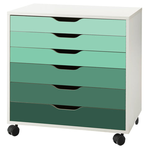 Green Ombre Pattern Decal Set for IKEA Alex Drawer Unit