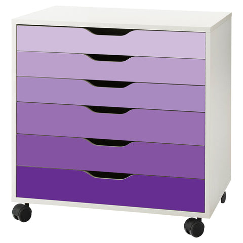 Purple Ombre Pattern Decal Set for IKEA Alex Drawer Unit