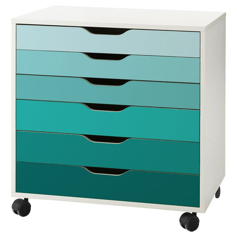 Turquoise Ombre Pattern Decal Set for IKEA Alex Drawer Unit