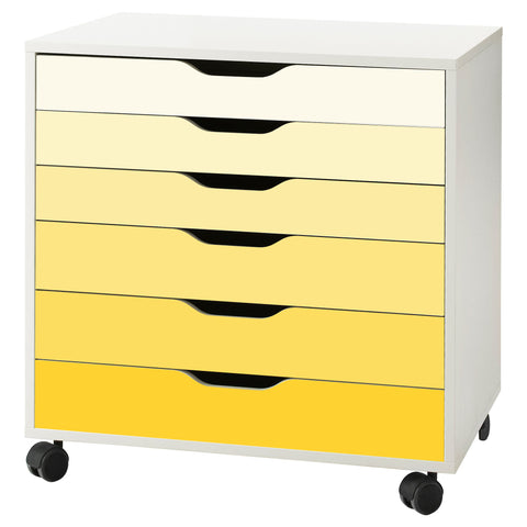 Yellow Ombre Pattern Decal Set for IKEA Alex Drawer Unit