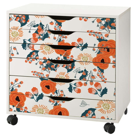 Vintage Floral Pattern Decal Set for IKEA Alex 6 Drawer Unit
