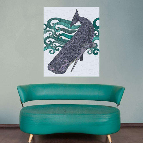 Diving Whale Ocean Animal Art Wall Sticker Decal by Valentina Harper