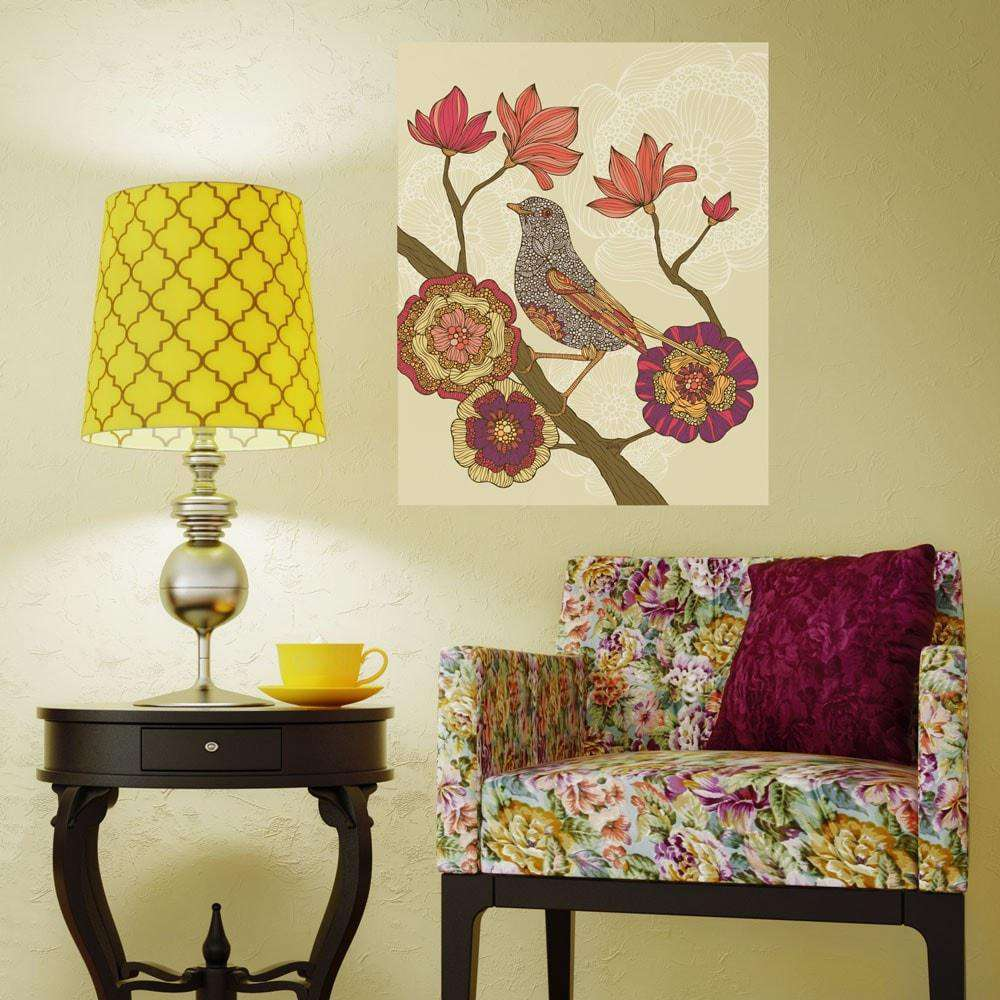 Floral Bird on Branch Art Wall Decal by Valentina Harper