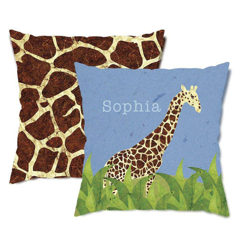 Personalized Giraffe Safari Throw Pillow
