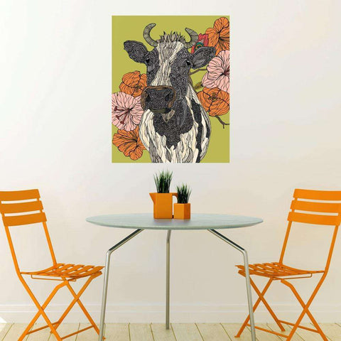 Floral Cow Art Wall Sticker Decal by Valentina Harper