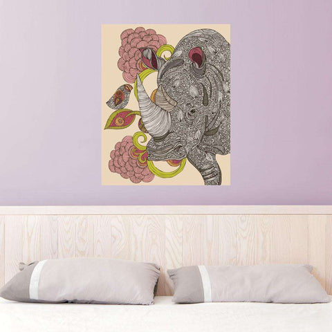 Floral Rhino and Bird Art Wall Sticker Decal by Valentina Harper