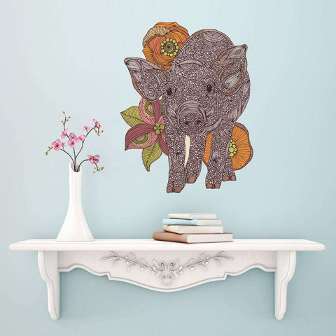 Floral Pig Art Wall Sticker Decal by Valentina Harper