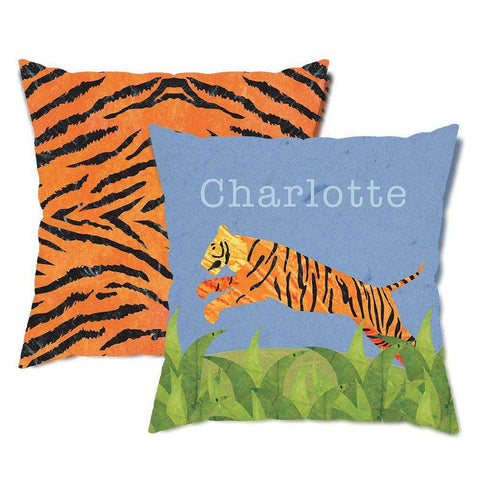 Personalized Tiger Safari Throw Pillow