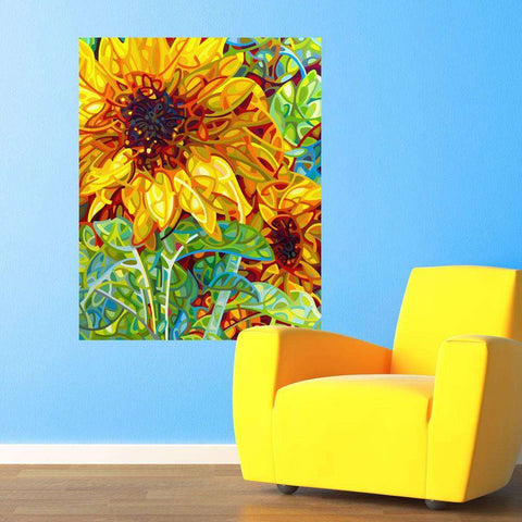 Abstract Sunflower Garden Wall Decal – Summer in the Garden by Mandy Budan