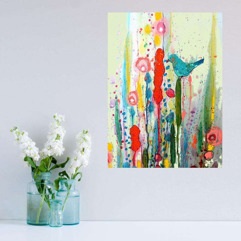 Abstract Floral Bird Art Wall Sticker – Living by Sylvie Demers