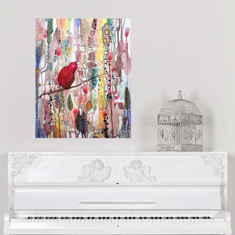 Abstract Floral Bird Art Wall Decal – Dream Time by Sylvie Demers