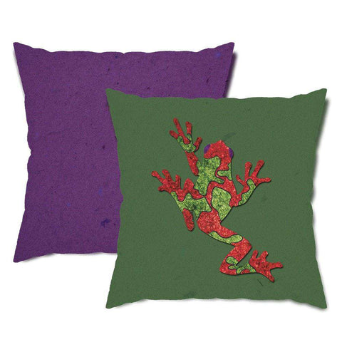 Green and Purple Tree Frog Throw Pillow