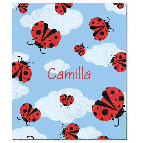Personalized Ladybug Sky Fleece Blanket