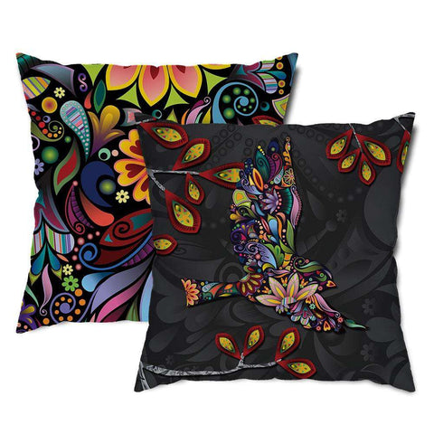 Floral Flying Bird Throw Pillow