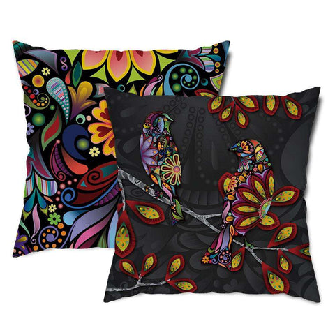 Birds on a Branch Floral Throw Pillow