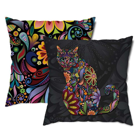 Sitting Cat Floral Throw Pillow