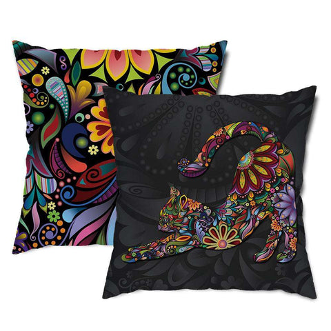 Stretching Cat Floral Throw Pillow