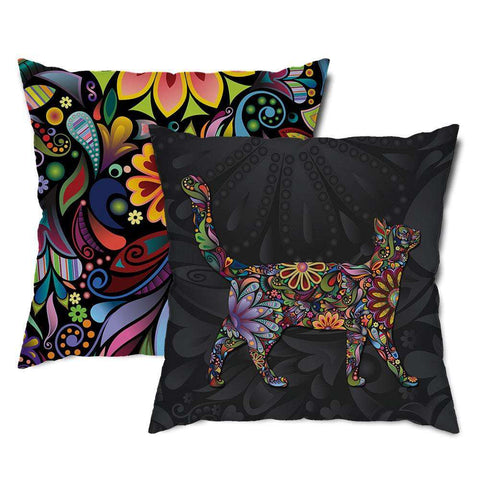 Cat Walk Floral Throw Pillow