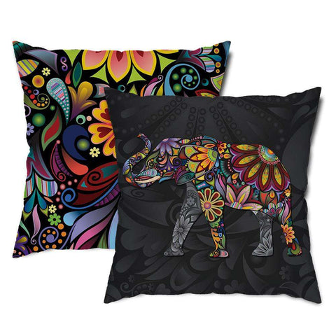 Elegant Elephant Floral Throw Pillow