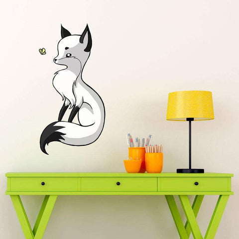 Digital Animal Art Wall Sticker Decal – Fox and a Butterfly by Indre Bankauskaite