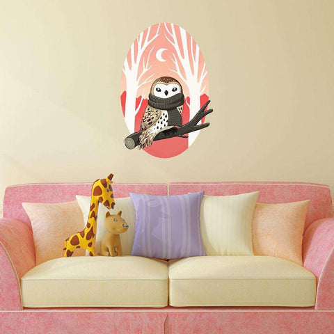 Digital Bird Art Wall Sticker Decal – Winter Owl by Indre Bankauskaite