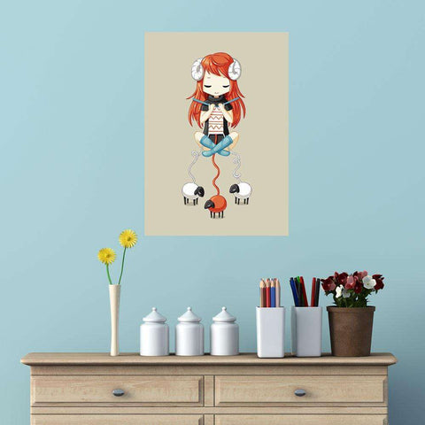 Anime Animal Art Wall Sticker Decal – Knitting Meditation by Indre Bankauskaite