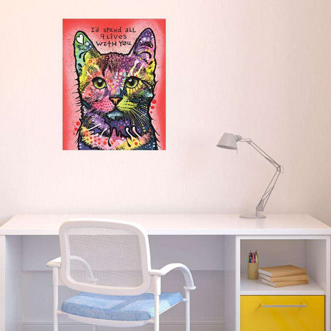 Animal Pop Art Wall Decal - 9 Lives by Dean Russo