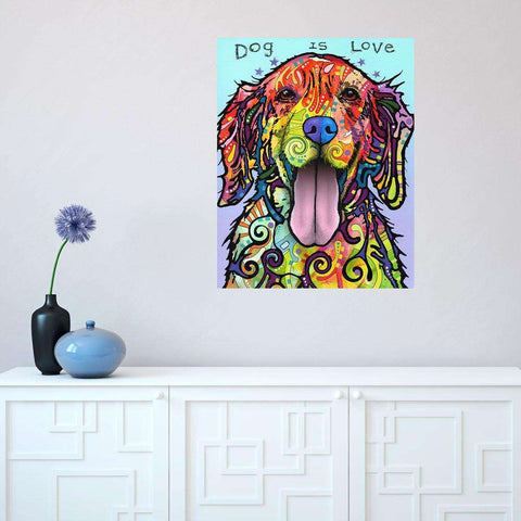 Dog Pop Art Wall Sticker Decal - Dog is Love by Dean Russo