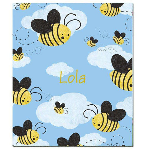Personalized Buzzing Bees Fleece Blanket