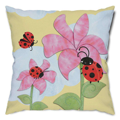 Ladybug Floral Throw Pillow