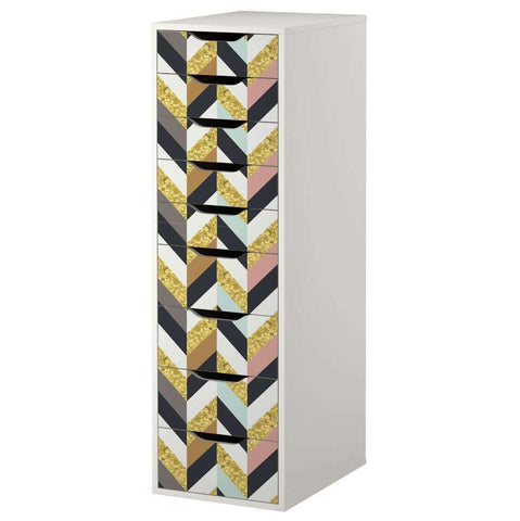 Herringbone Pattern Decal Set for IKEA Alex 9 Drawer Unit