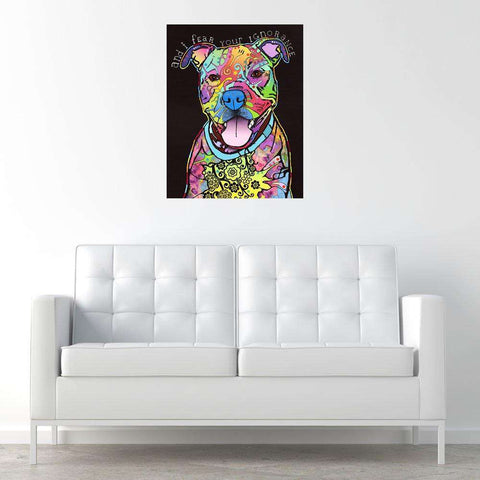 Pit Bull Splash Art Wall Decal - I Fear by Dean Russo