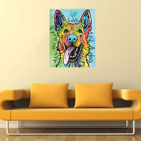 German Shepherd Pop Art Decal - Love and a Dog by Dean Russo