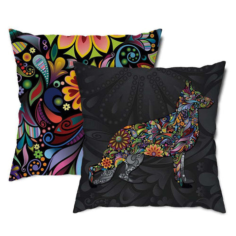 German Shepherd Floral Dog Throw Pillow