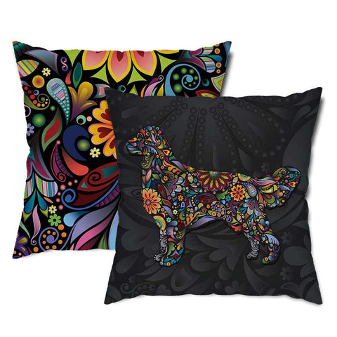 Golden Retriever Floral Dog Throw Pillow