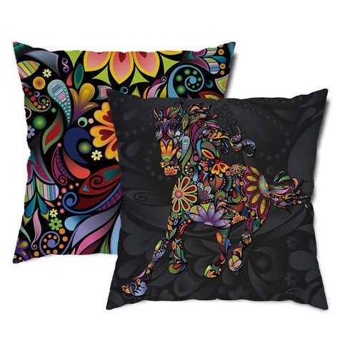 Wild Horse Floral Throw Pillow