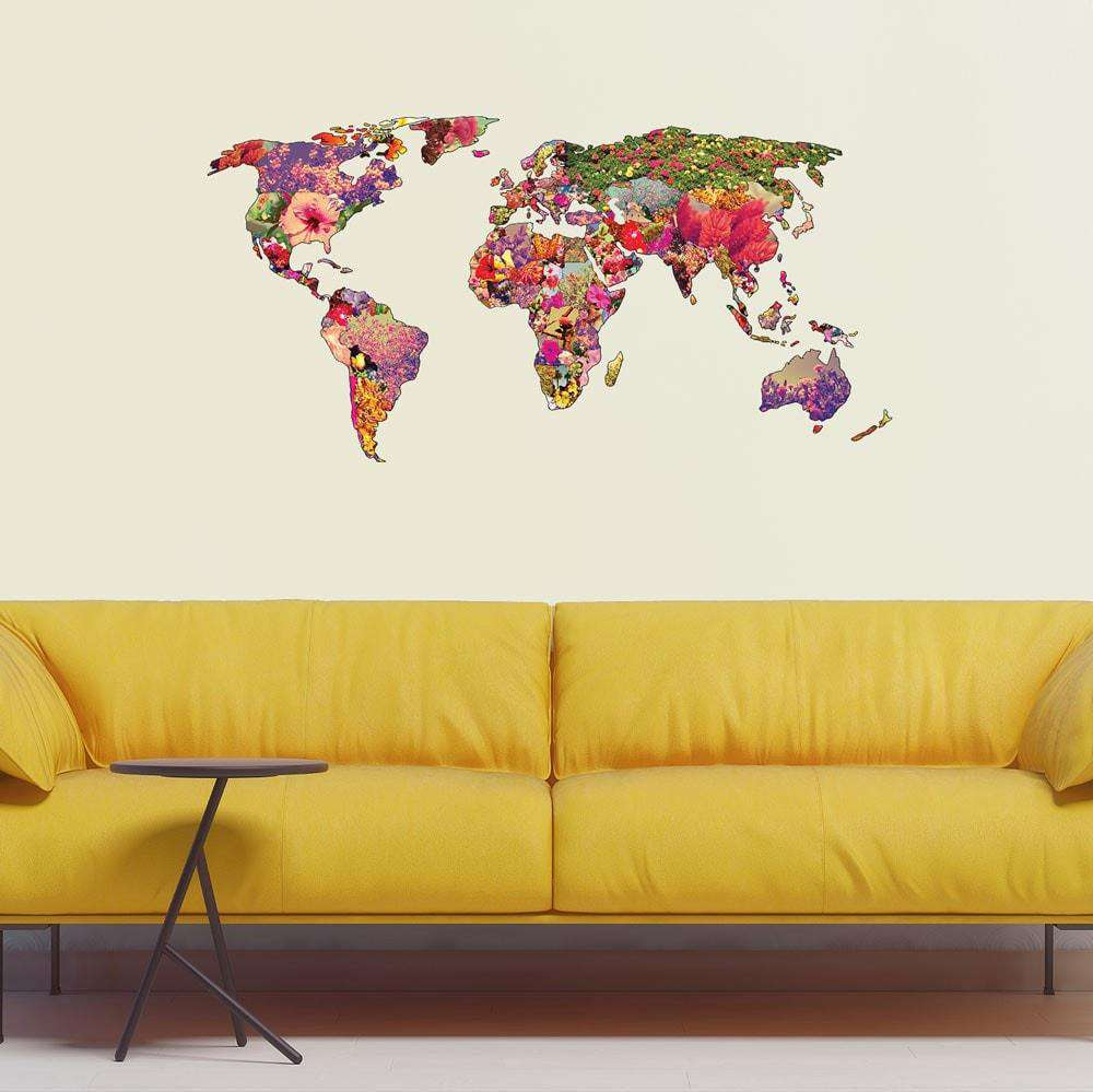 Floral world map wall sticker its your world by bianca green amipublicfo Images
