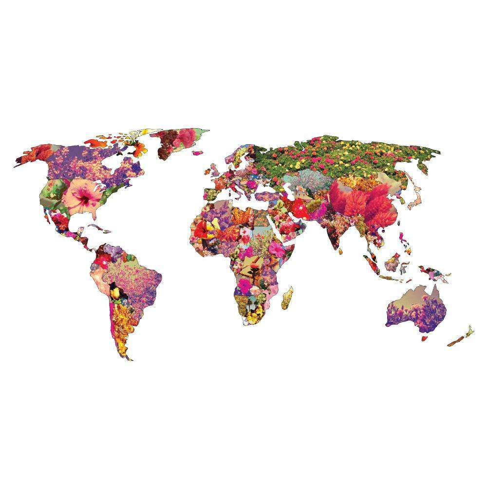 floral world map wall sticker it 39 s your world by bianca. Black Bedroom Furniture Sets. Home Design Ideas