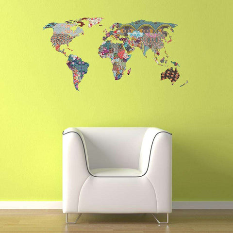 Map and flag stencils stickers and coordinating home decor my collage world map wall decal louis armstrong told us so by bianca green gumiabroncs Image collections