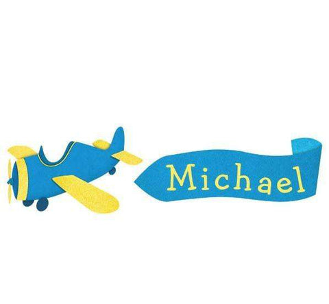 Personalized Plane and Banner Wall Sticker - Blue/Yellow