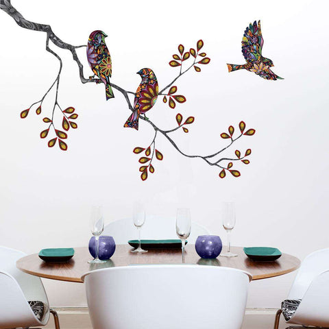 Birds and Tree Branch Wall Sticker - Decal