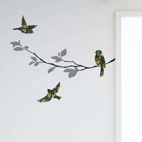 Birds and Tree Branch Wall Decal Set, Floral Harvest Pattern