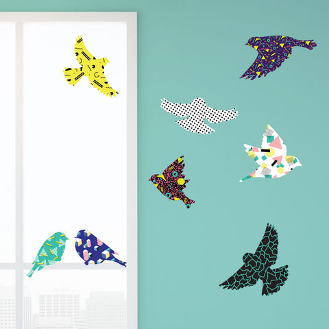 Bird Decals for Walls and Windows - Retro 80s Design